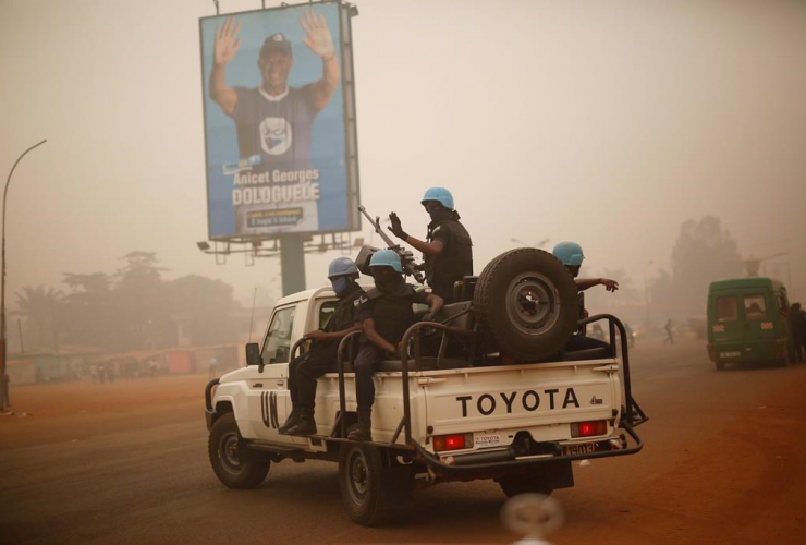 MINUSCA UN forces, Rwanda, patrol, Bangui, Central African Republic,