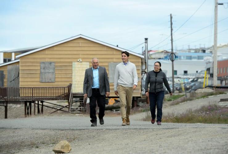 Prime Minister Justin Trudeau, Nunavut Premier Joe Savikataaq, Iqaluit Mayor Madeleine Redfern, Iqaluit,
