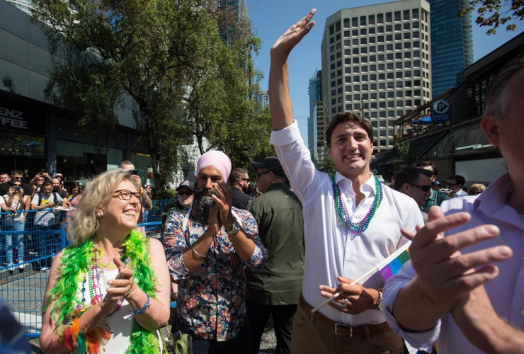 Prime Minister Justin Trudeau, Green Party Leader Elizabeth May, NDP Leader Jagmeet Singh, Vancouver,