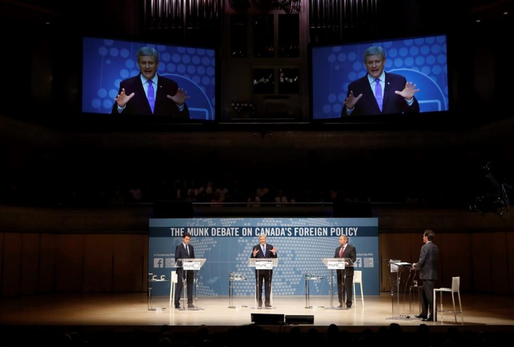 Justin Trudeau, Stephen Harper, Thomas Mulcair, Munk Debate,