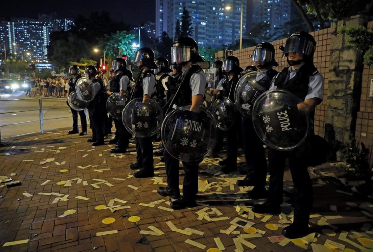 Riot police, demonstration, ghost festival, Hong Kong,