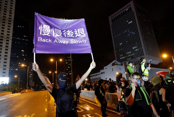 demonstrator, sign, Chinese Liaison Office, Hong Kong,
