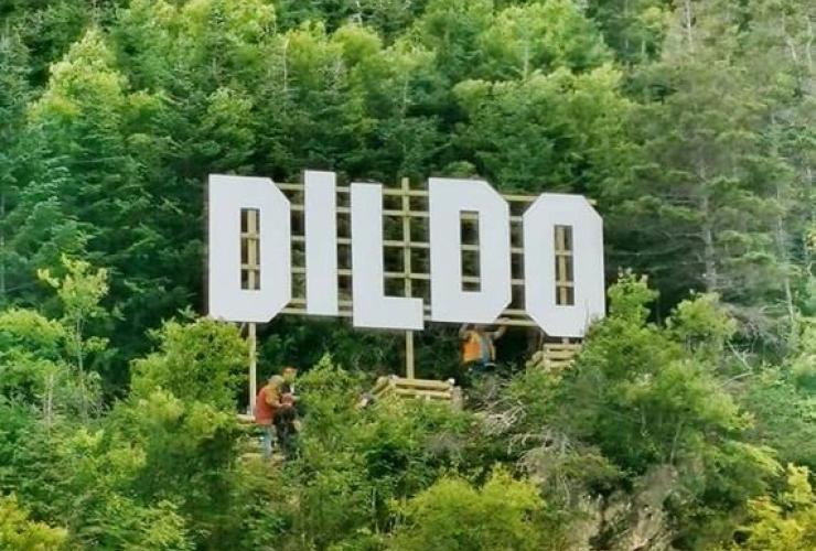 Hollywood-like sign, Dildo, Newfoundland, Canada,