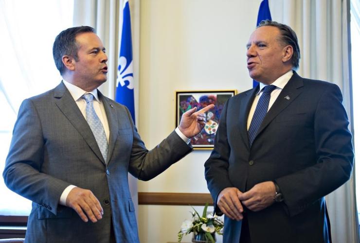 Alberta Premier Jason Kenney, Quebec Premier Francois Legault,