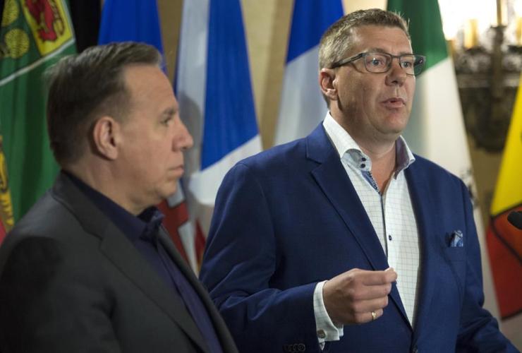 Saskatchewan Premier Scott Moe, Quebec Premier Francois Legault,