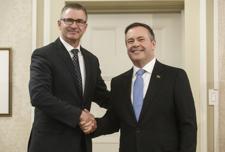 Alberta premier Jason Kenney, Travis Toews, President of Treasury Board, Minister of Finance,