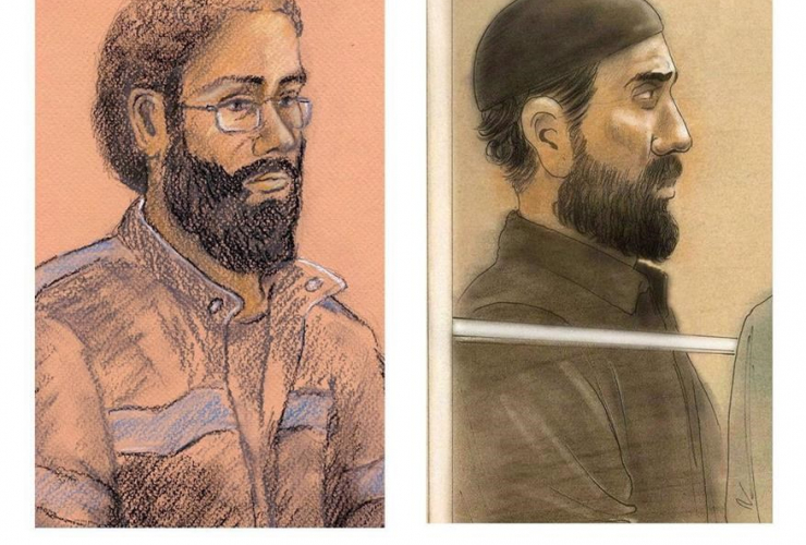 Raed Jaser, Chiheb Esseghaier, composite, courtroom illustrations,