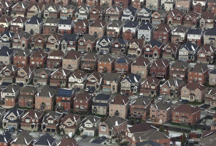 aerial view, houses, Oshawa,