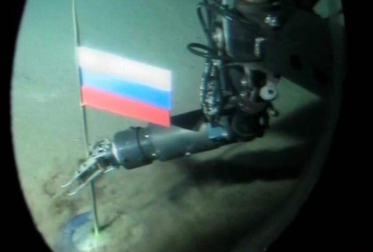 Russian mini-submarine, titanium capsule, Russian flag,