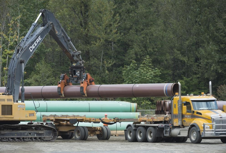 Pipeline pipes, Trans Mountain facility, Hope,