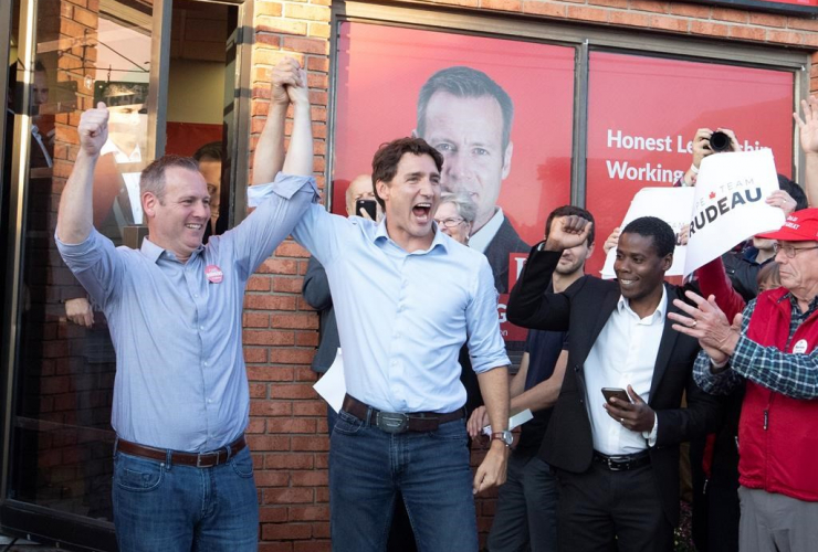 Prime Minister Justin Trudeau, Carleton Liberal candidate Chris Rogers,