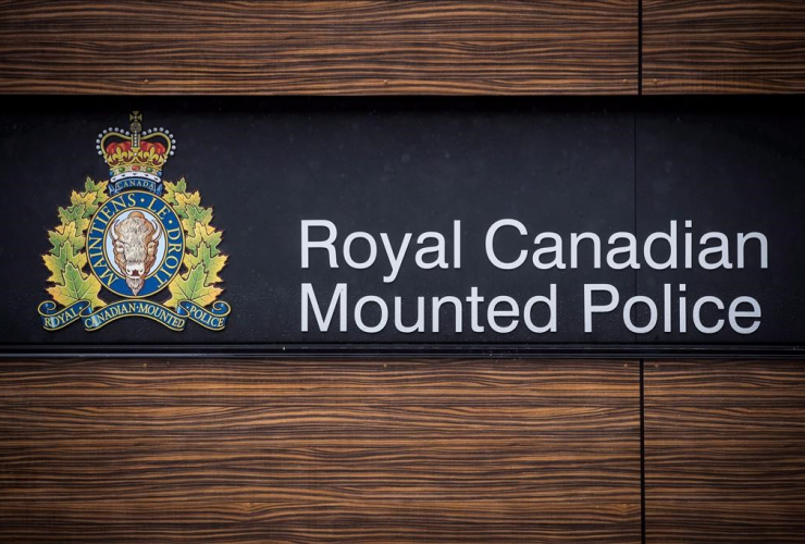 "RCMP logo, Royal Canadian Mounted Police ""E"" Division Headquarters, Surrey,"