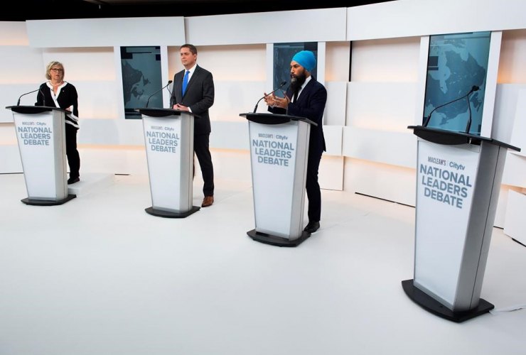 Elizabeth May, Andrew Scheer, Jagmeet Singh, Maclean's/Citytv National Leaders Debate,