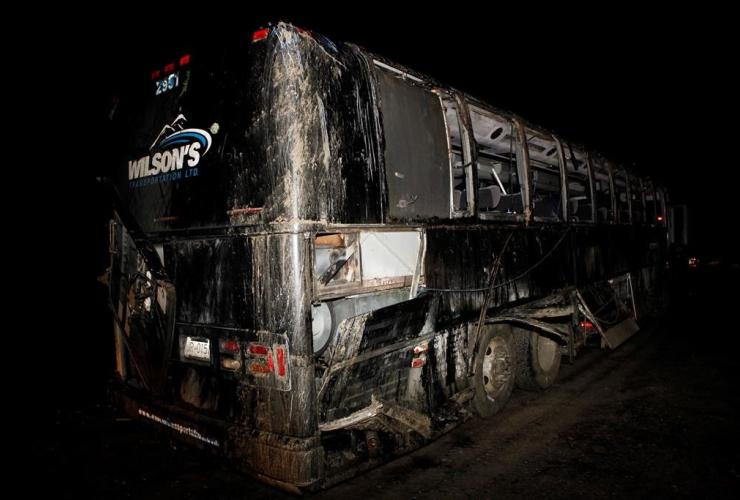 passenger bus, accident, logging road,
