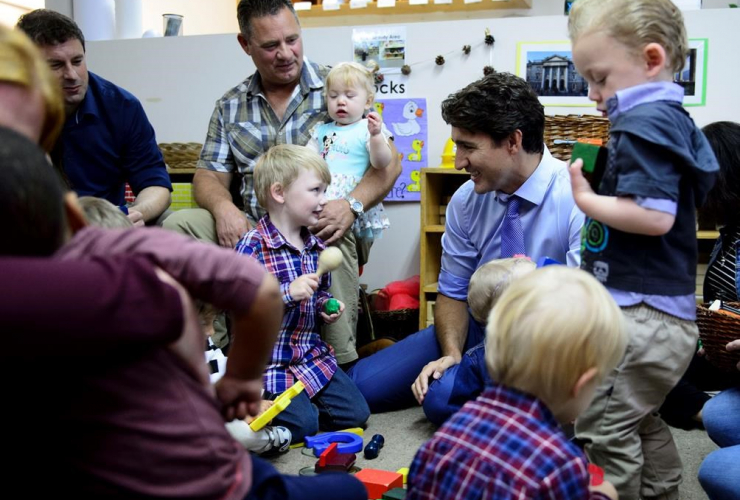 Liberal Leader Justin Trudeau, campaign stop, daycare, St. John's,