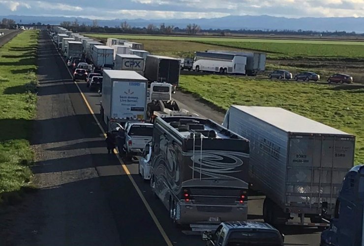 Caltrans District 3, back up, South bound Interstate 5, traffic, Maxwell, Colusa County, Calif.,