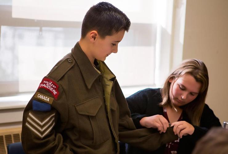 Grade 7 student, Tristan Levesque, Second World War, battle dress jacket, Olivia Puff,