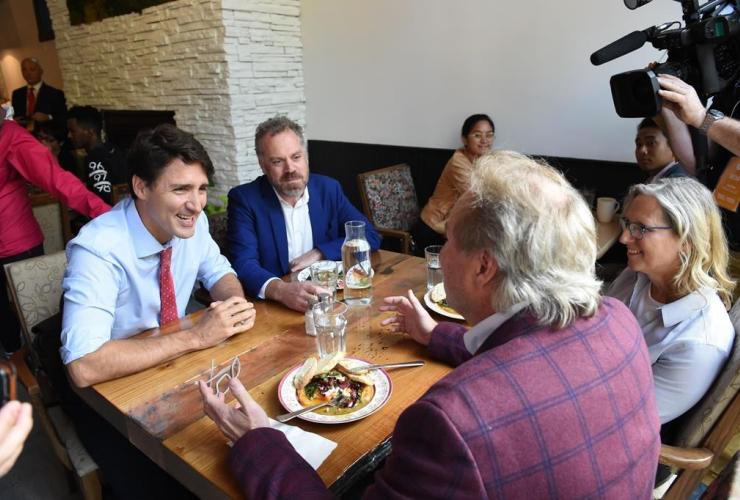 Liberal Leader Justin Trudeau, cafe, Winnipeg,