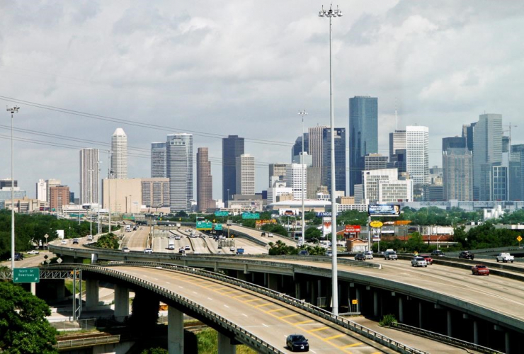 Cars, highway, skyline, downtown Houston,