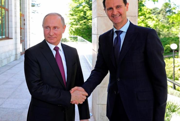 Russian President Vladimir Putin, Syrian President Bashar Assad,