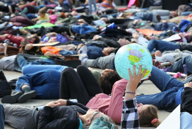 Climate change activists, students, Calgary Municipal Building,