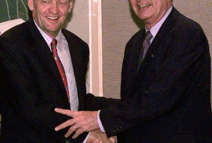 Prime MInister Jean Chretien, French President Jacques Chirac,