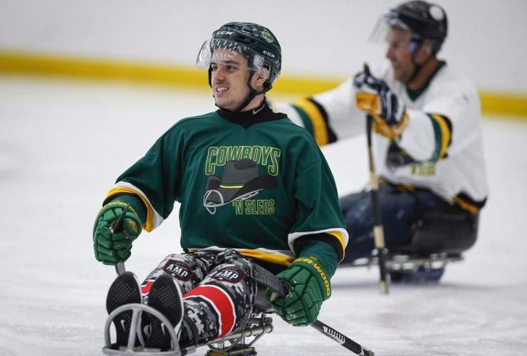 Humboldt Broncos, bus crash, survivor, Ryan Straschnitzki, fund raising, sledge hockey game, Calgary,