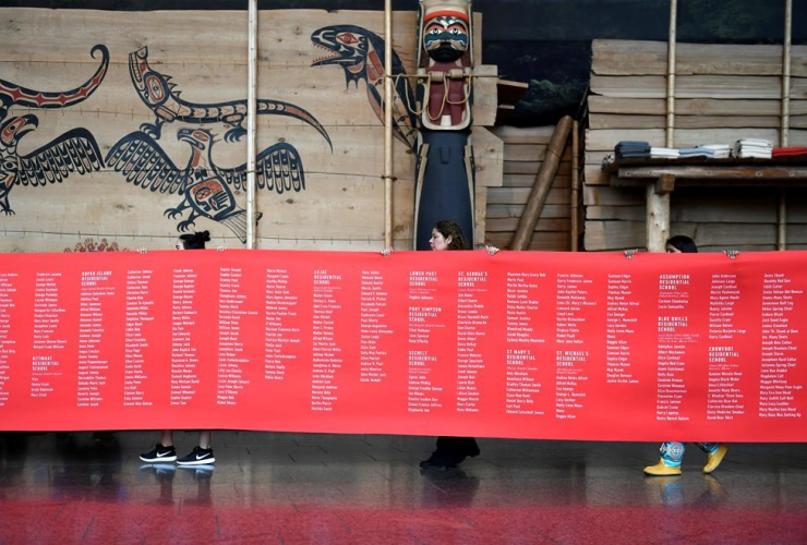 ceremonial cloth, names, children, died, residential schools, Honouring National Day for Truth and Reconciliation,