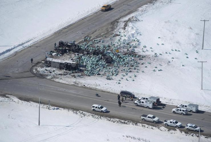 wreckage, Humboldt Broncos hockey bus crash,