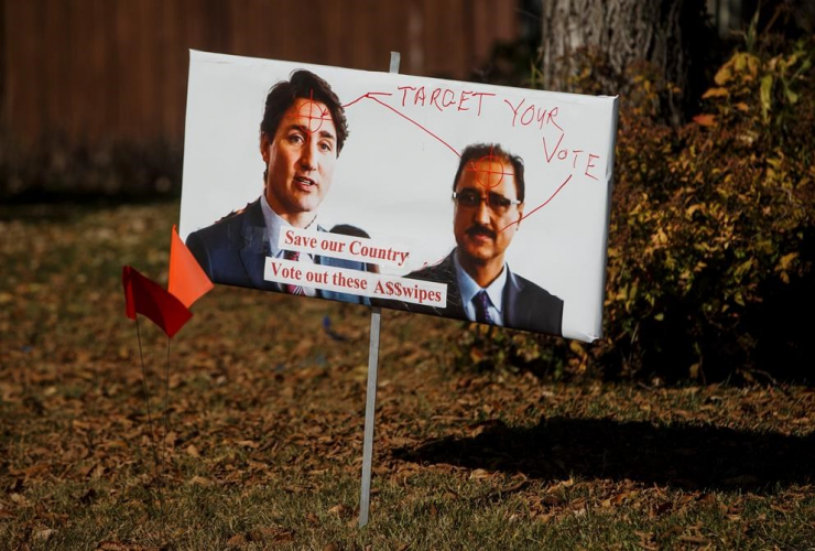 lawn sign, Minister of Natural Resources Amarjeet Sohi, Liberal Leader Justin Trudeau,