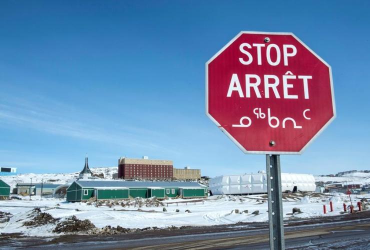 stop sign, English, French, Inuktut syllabics, Iqaluit, Nunavut,