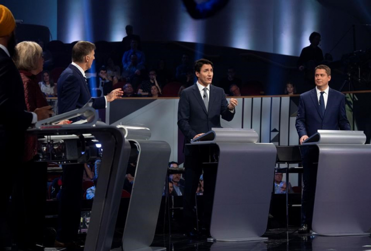 Jagmeet Singh, Elizabeth May, Maxime Bernier, Justin Trudeau, Andrew Scheer, Federal leaders French language debate, Gatineau,