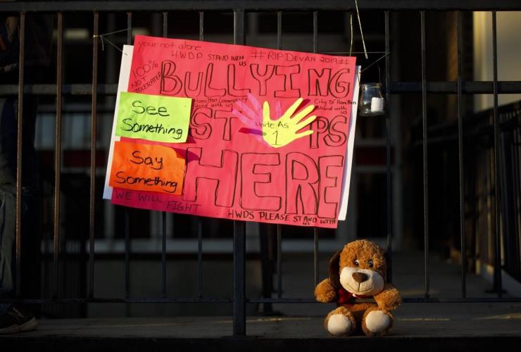 stuffed animal, Sir Winston Churchill Secondary School, vigil, Devan Selvey,