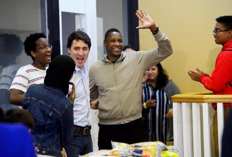 Liberal Leader Justin Trudeau, Toronto Raptors President Masai Ujiri, Thanksgiving food drive, Toronto,