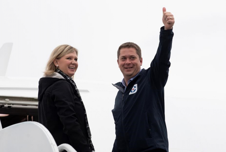 Conservative leader Andrew Scheer, wife, Jill, campaign plane, Ottawa,