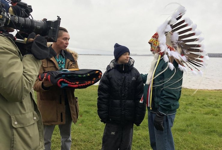 Greta Thunberg, Mikisew Cree First Nation Chief Archie Waquan,