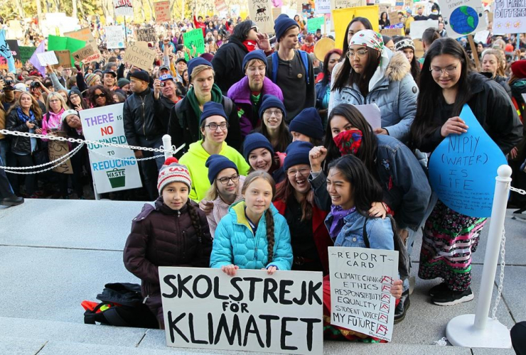 Swedish climate activist Greta Thunberg and youth organizers attend a rally at the Alberta Legislature Building in Edmonton, on Friday, Oct. 18, 2019. File photo by The Canadian Press/Dave Chidley