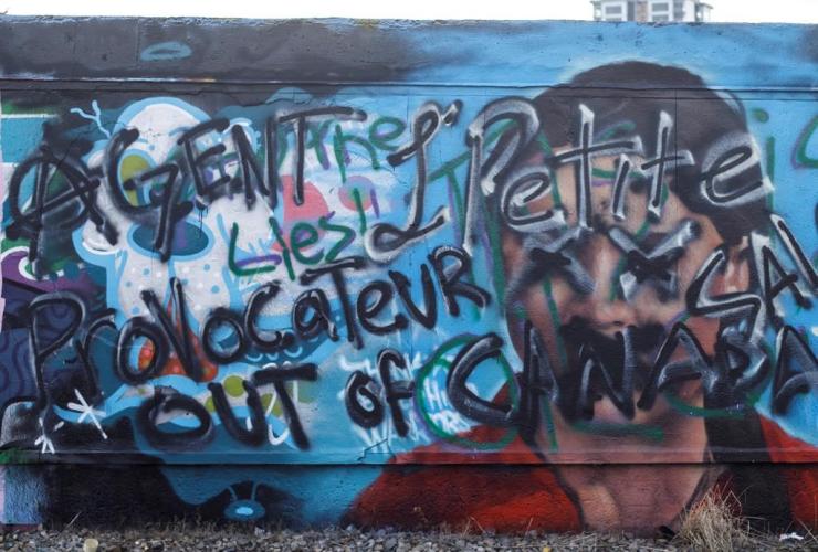 defaced, Greta Thunberg mural, Edmonton,