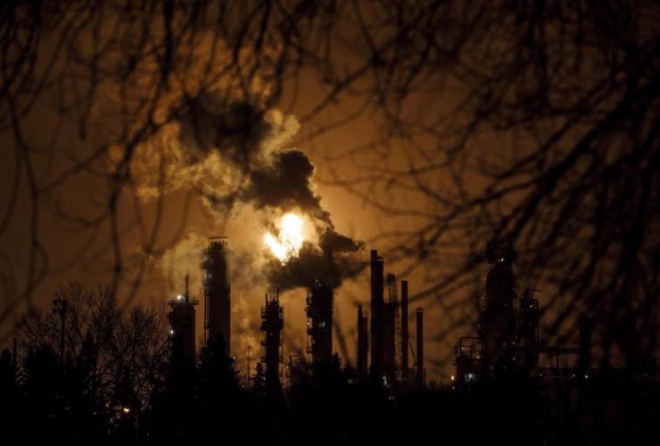 flare stack, refinery, Edmonton,