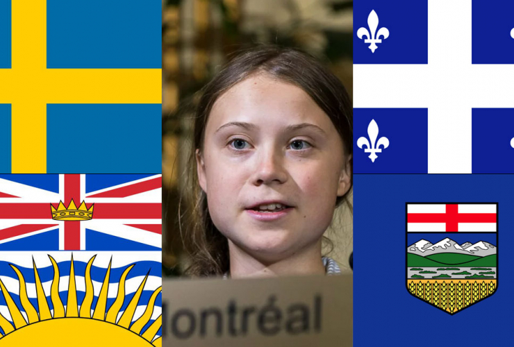 Flags of Sweden, British Columbia, Quebec and Alberta and photo of Greta Thunberg