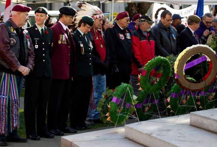 Veterans, Victory Square Cenotaph, National Aboriginal Veterans Day, Vancouver,