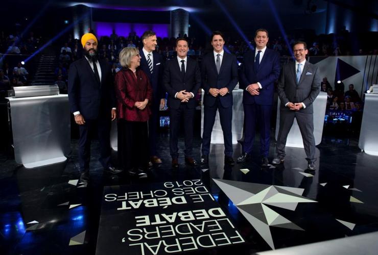Jagmeet Singh, Elizabeth May, Maxime Bernier, Justin Trudeau, Andrew Scheer, Yves-Francois Blanchet, Federal leaders debate, Gatineau, Que.