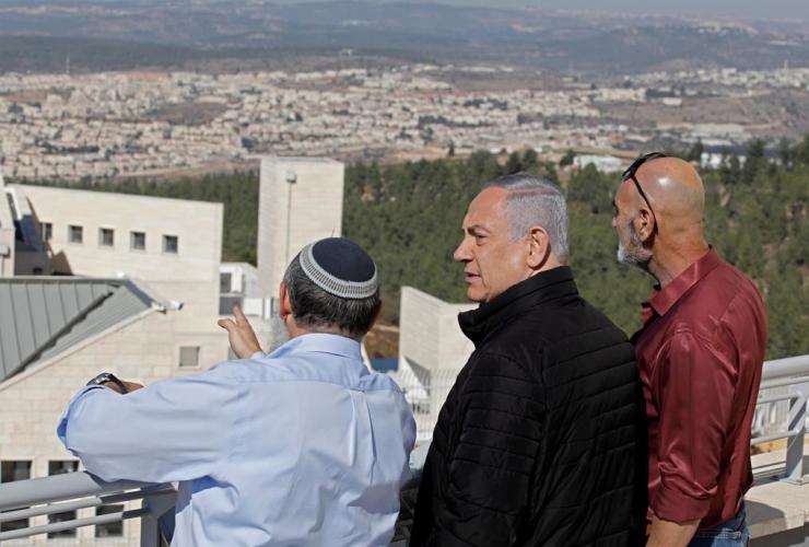 Israeli Prime Minister Benjamin Netanyahu, Alon Shvut settlement, Gush Etzion block, West Bank,