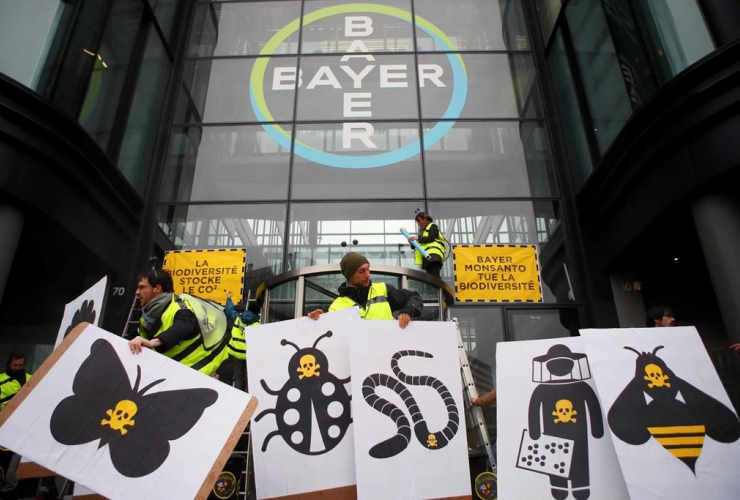 French activists of Attac, Paris headquarters, Bayer AG, protest, la Garenne Colombes, Paris,