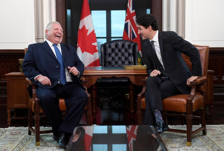 Prime Minister Justin Trudeau, Premier of Ontario Doug Ford,