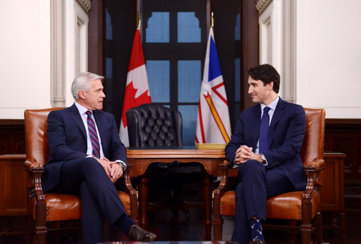 Prime Minister Justin Trudeau, Premier of Newfoundland and Labrador, Dwight Ball,