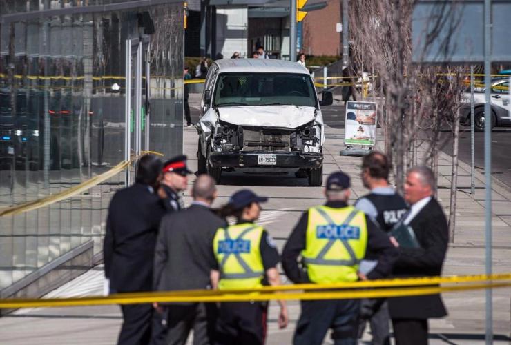 Police, damaged van, Toronto, pedestrians,