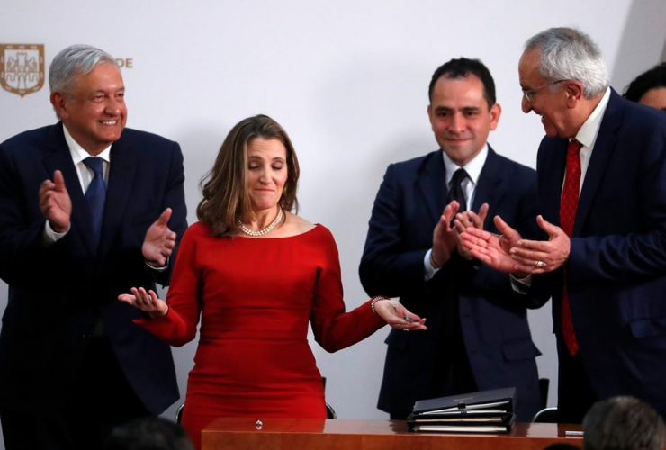 Chrystia Freeland, Jesus Seade, Arturo Herrera, Andres Manuel Lopez Obrador,