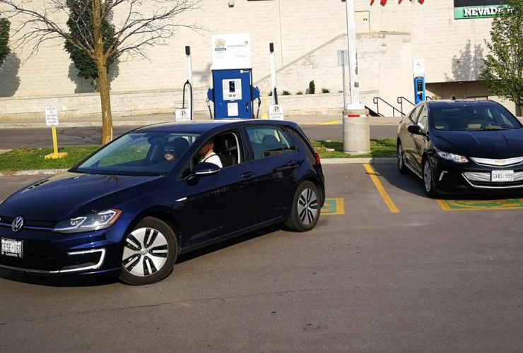 Chevrolet Volt, charging station, Volkswagen e-Golf, Lansdowne Mall in Peterborough, Ontario,