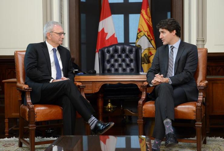 Prime Minister Justin Trudeau, Premier of New Brunswick Blaine Higgs,